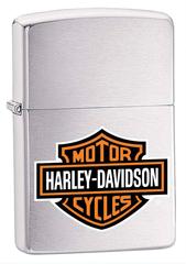 Зажигалка ZIPPO Harley-Davidson®, с покрытием Brushed Chrome, латунь/сталь, серебристая с рисунком, 36x12x56 мм