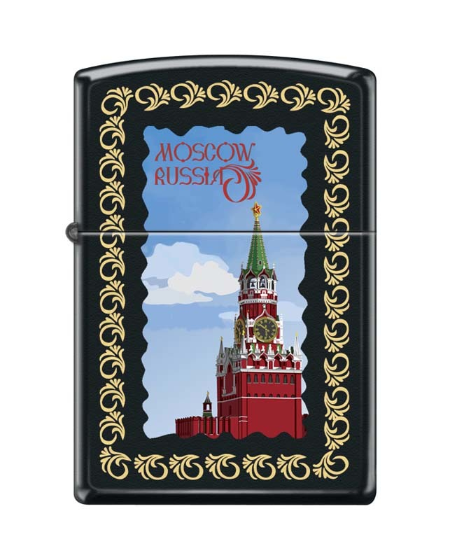 цена на Зажигалка ZIPPO Московский кремль, латунь/сталь с покрытием Black Matte, чёрная, 36x12x56 мм