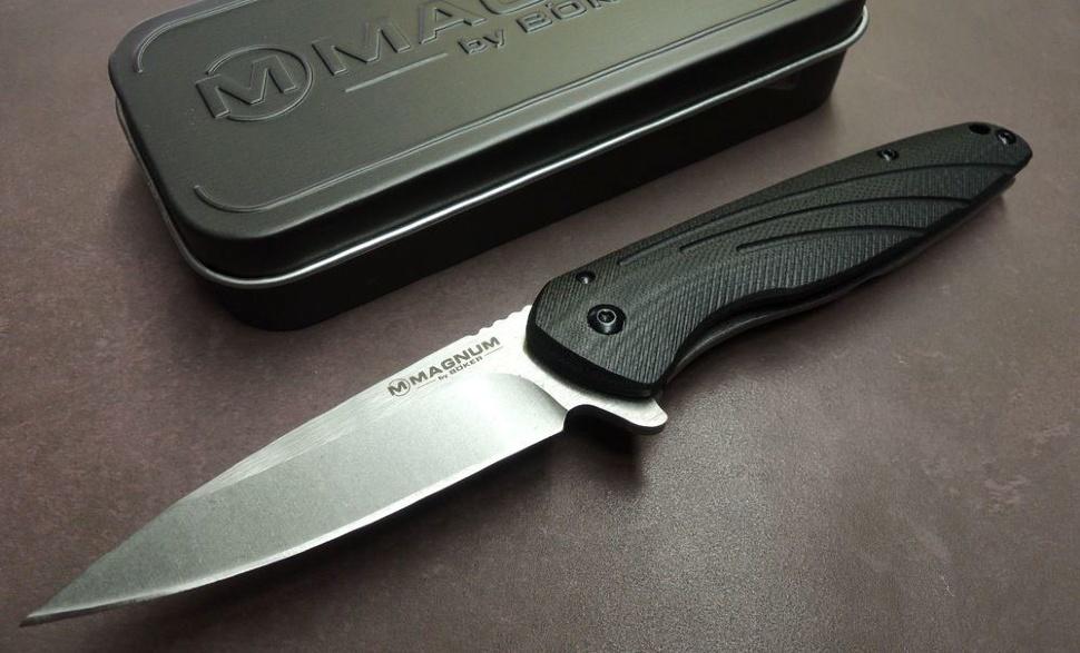 Фото 7 - Нож складной Magnum Ellipse, сталь 440А Stonewashed Plain, рукоять стеклотекстолит G10/нержавеющая сталь, Boker 01SC488