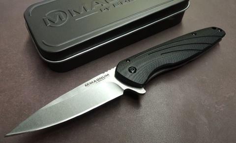 Нож складной Magnum Ellipse, сталь 440А Stonewashed Plain, рукоять стеклотекстолит G10/нержавеющая сталь, Boker 01SC488. Вид 5