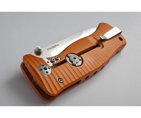 Нож складной LionSteel SR1A OB ORANGE, сталь D2 Black Finish, рукоять алюминий (Solid®), оранжевый. Вид 10