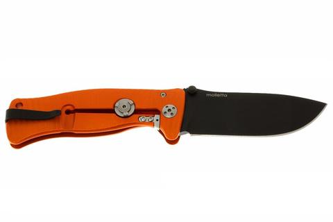 Нож складной LionSteel SR1A OB ORANGE, сталь D2 Black Finish, рукоять алюминий (Solid®), оранжевый. Вид 3