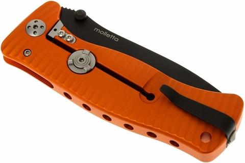 Нож складной LionSteel SR1A OB ORANGE, сталь D2 Black Finish, рукоять алюминий (Solid®), оранжевый. Вид 11