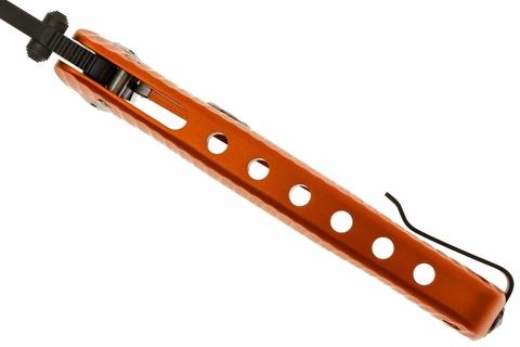 Нож складной LionSteel SR1A OB ORANGE, сталь D2 Black Finish, рукоять алюминий (Solid®), оранжевый. Вид 12