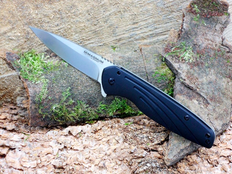 Фото 10 - Нож складной Magnum Ellipse, сталь 440А Stonewashed Plain, рукоять стеклотекстолит G10/нержавеющая сталь, Boker 01SC488