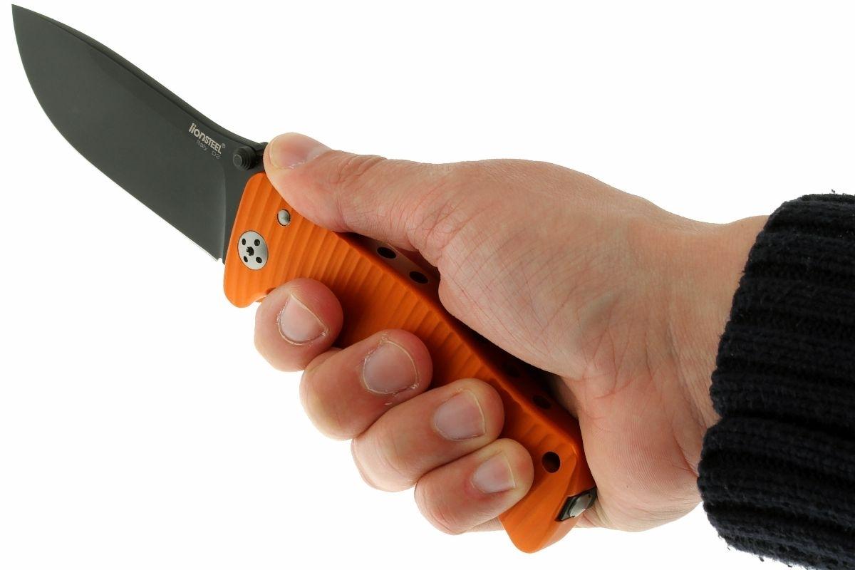 Фото 7 - Нож складной LionSteel SR1A OB ORANGE, сталь D2 Black Finish, рукоять алюминий (Solid®), оранжевый от Lion Steel