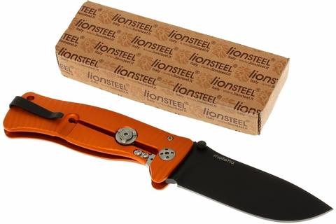 Нож складной LionSteel SR1A OB ORANGE, сталь D2 Black Finish, рукоять алюминий (Solid®), оранжевый. Вид 6