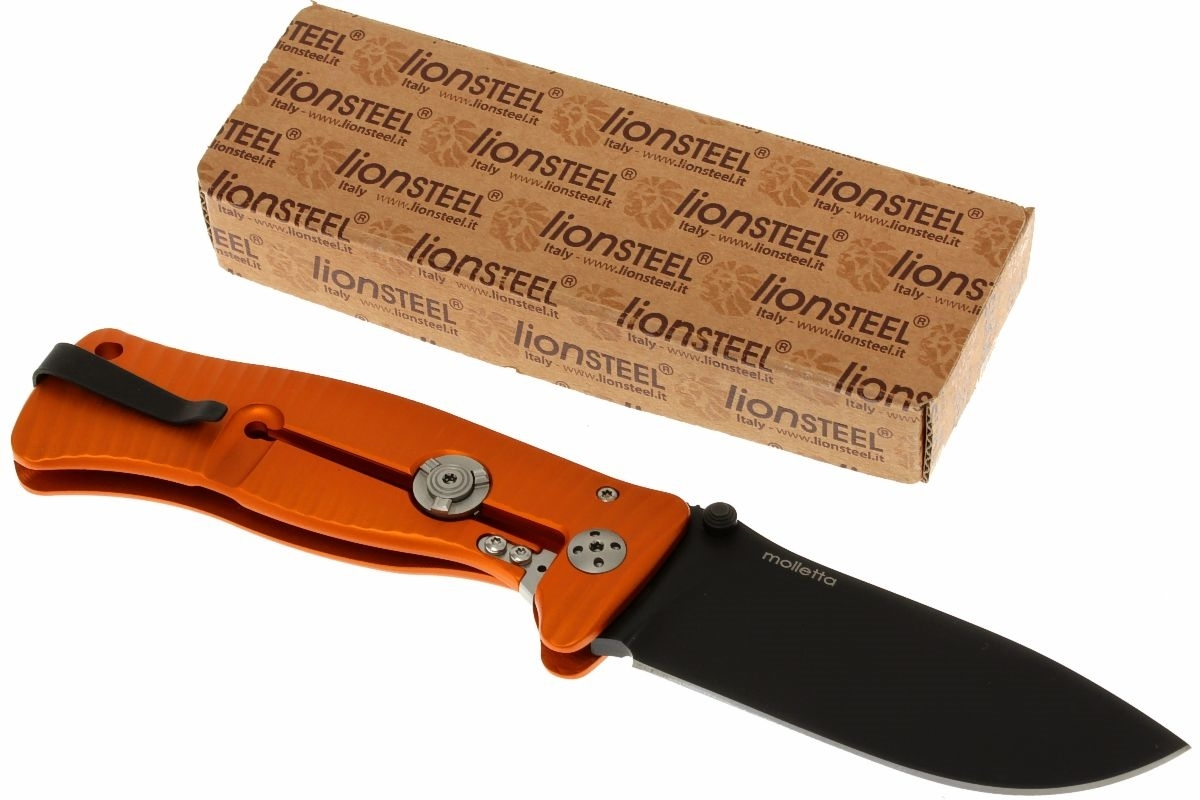 Фото 8 - Нож складной LionSteel SR1A OB ORANGE, сталь D2 Black Finish, рукоять алюминий (Solid®), оранжевый от Lion Steel