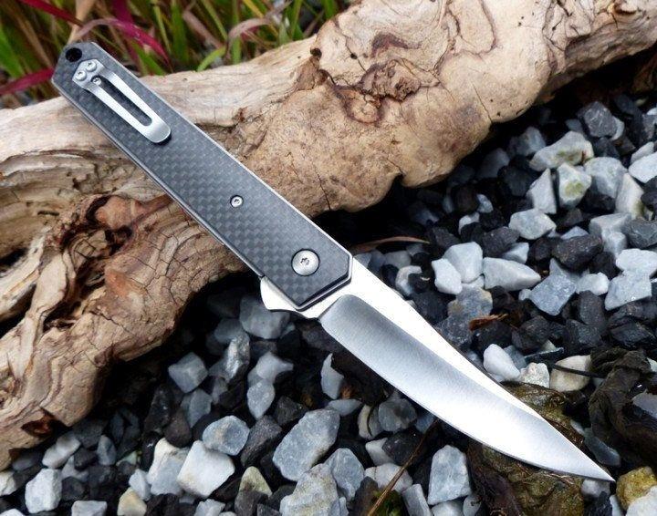 Фото 11 - Нож складной Kwaiken Folder Carbon (IKBS® Flipper) - Boker Plus 01BO298, сталь VG-10 Satin Plain, рукоять карбон