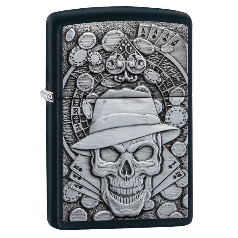 Зажигалка ZIPPO Gambling Skull с покрытием Black Matte, латунь/сталь, чёрная, матовая, 36x12x56 мм