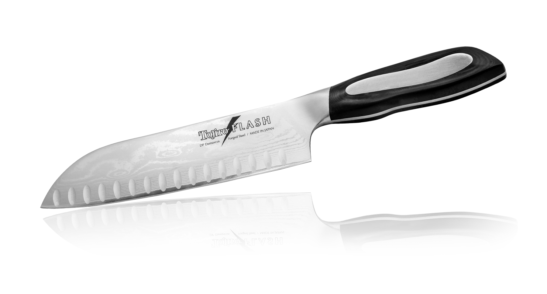 Нож Сантоку Tojiro Flash 180 мм с насечками, сталь VG-10