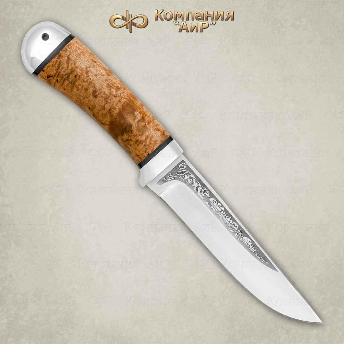Нож АиР «Лиса», сталь 100х13м, рукоять карельская береза, алюминий