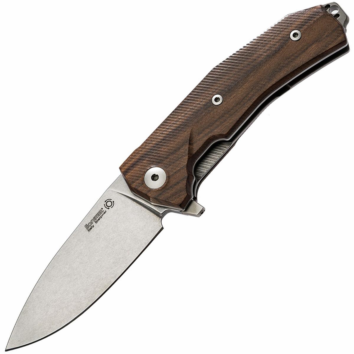Купить Нож складной KUR Ball-Bearing Flipper, Santos Wood Handle, Stonewashed от Lion Steel в России