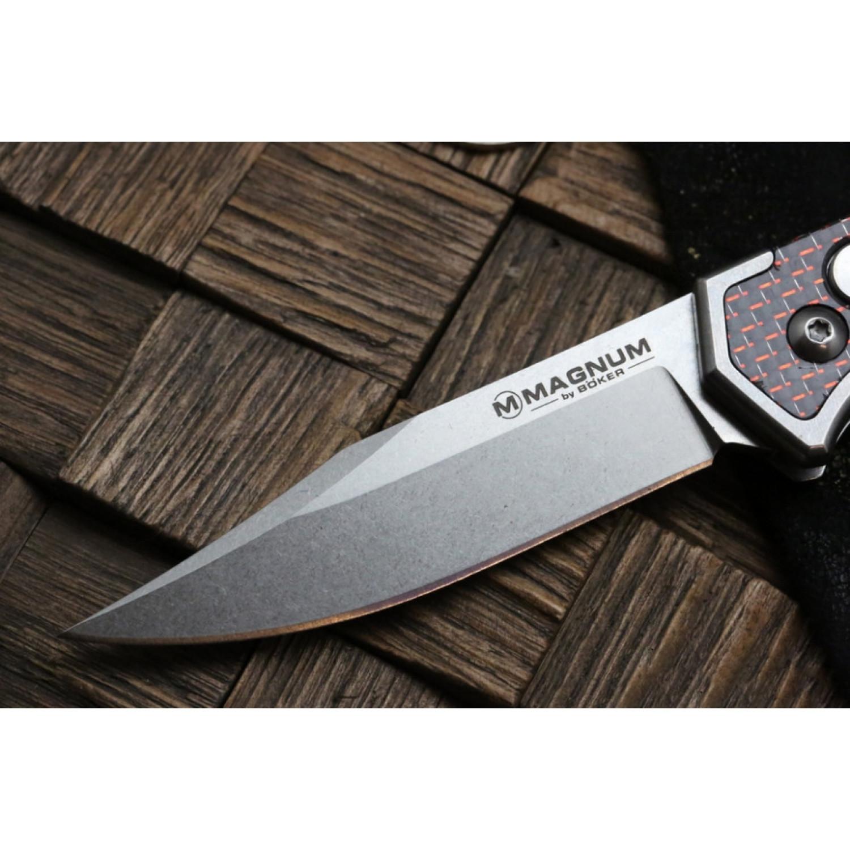 Фото 4 - Полуавтоматический складной нож Magnum Rubico Auto - Boker 01SC054, сталь 440A Stonewash, рукоять карбон/нержавеющая сталь, чёрно-красный