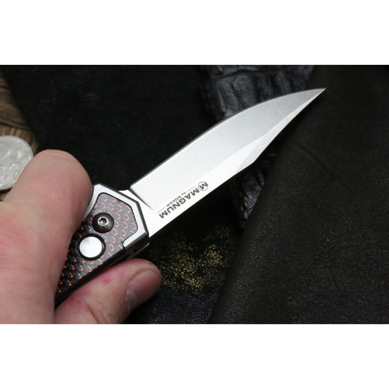 Фото 7 - Полуавтоматический складной нож Magnum Rubico Auto - Boker 01SC054, сталь 440A Stonewash, рукоять карбон/нержавеющая сталь, чёрно-красный