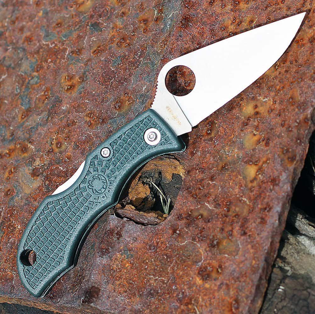 Фото 6 - Нож складной Ladybug 3 - Spyderco LGREP3, сталь ZDP-189 Satin Plain, рукоять термопластик FRN, (British Racing Green) зелёный