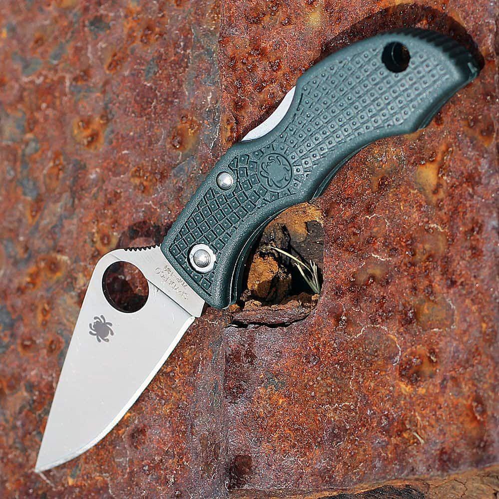 Фото 7 - Нож складной Ladybug 3 - Spyderco LGREP3, сталь ZDP-189 Satin Plain, рукоять термопластик FRN, (British Racing Green) зелёный