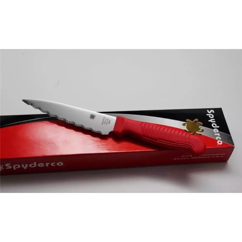 Фото 5 - Нож кухонный универсальный Spyderco Utility Knife K05SRD, сталь MBS-26 Serrated 11.4 см, рукоять полипропилен, красный