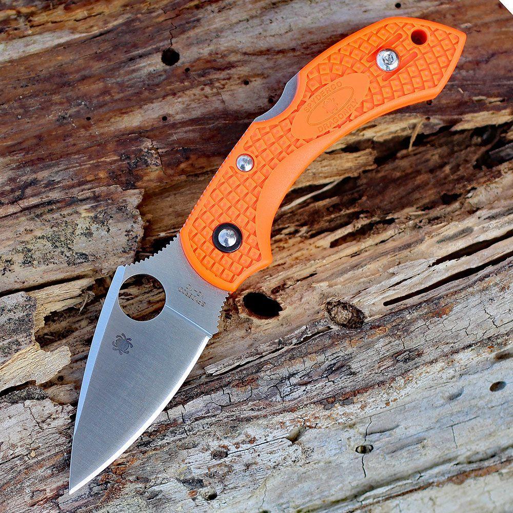 Фото 7 - Складной нож Dragonfly 2 - Spyderco 28POR2, сталь VG-10 Satin Plain, рукоять термопластик FRN оранжевый