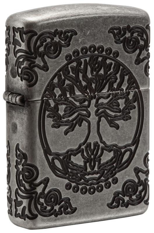 Зажигалка ZIPPO Armor® с покрытием Antique Silver, латунь/сталь, серебро, матовая, 36x12x56 мм