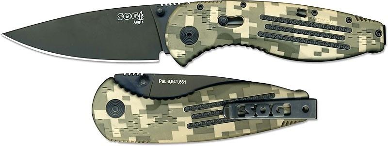 Фото 7 - Складной нож с фиксатором Aegis Digi Camo 8.9 см. - SOG AE06, сталь AUS-8, рукоять пластик GRN