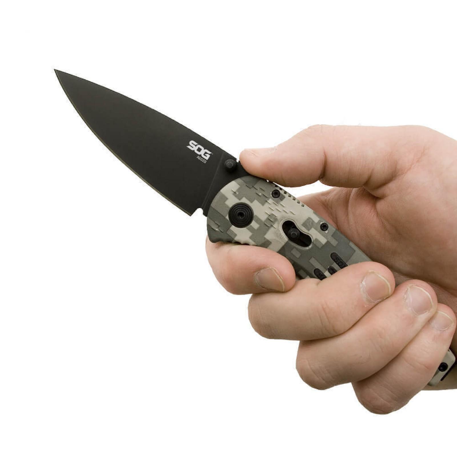 Фото 8 - Складной нож с фиксатором Aegis Digi Camo 8.9 см. - SOG AE06, сталь AUS-8, рукоять пластик GRN