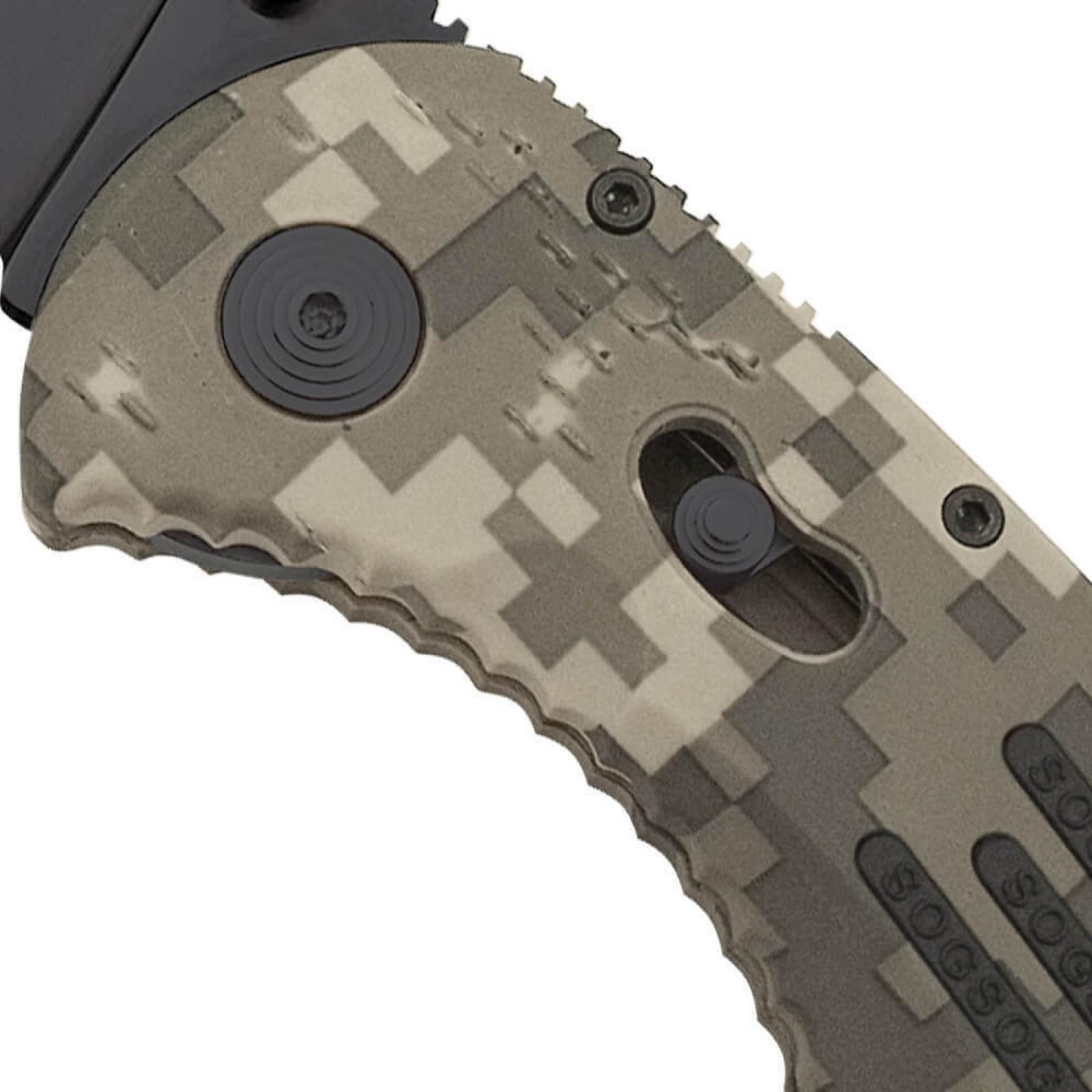 Фото 13 - Складной нож с фиксатором Aegis Digi Camo 8.9 см. - SOG AE06, сталь AUS-8, рукоять пластик GRN
