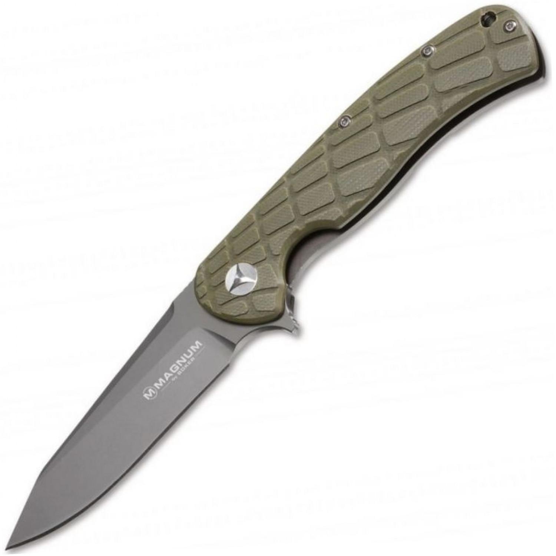 Фото 7 - Нож складной Magnum Foxtrott Sierra - Boker 01MB705, сталь 440B Titanium Nitride, рукоять стеклотекстолит G10/нержавеющая сталь