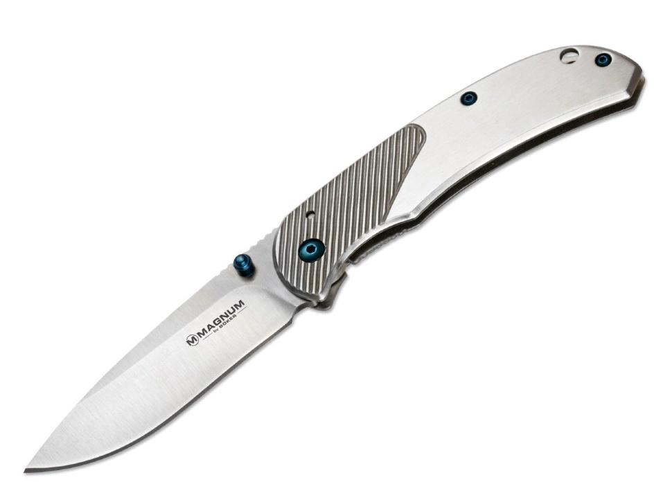 Фото 6 - Нож складной Magnum Blue Dot, сталь 440А Stonewash Plain, рукоять нержавеющая сталь, серый, Boker 01RY863