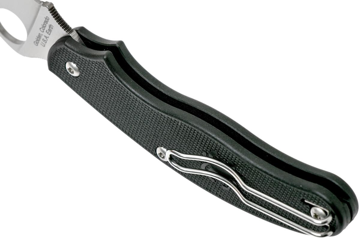 Фото 16 - Нож складной UK Penknife Spyderco 94PBK3, сталь CTS BD1N Satin Plain, рукоять термопластик FRN, чёрный