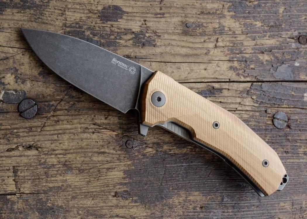 Фото 5 - Нож складной LionSteel KUR BUL Olive Wood, сталь Stonewashed & PVD-Coated Uddeholm Sleipner®, рукоять оливковое дерево от Lion Steel