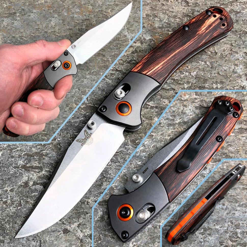 Фото 10 - Нож складной Benchmade Hunt Series Mini Crooked River Wood 15085-2, сталь CPM S30V, рукоять дерево