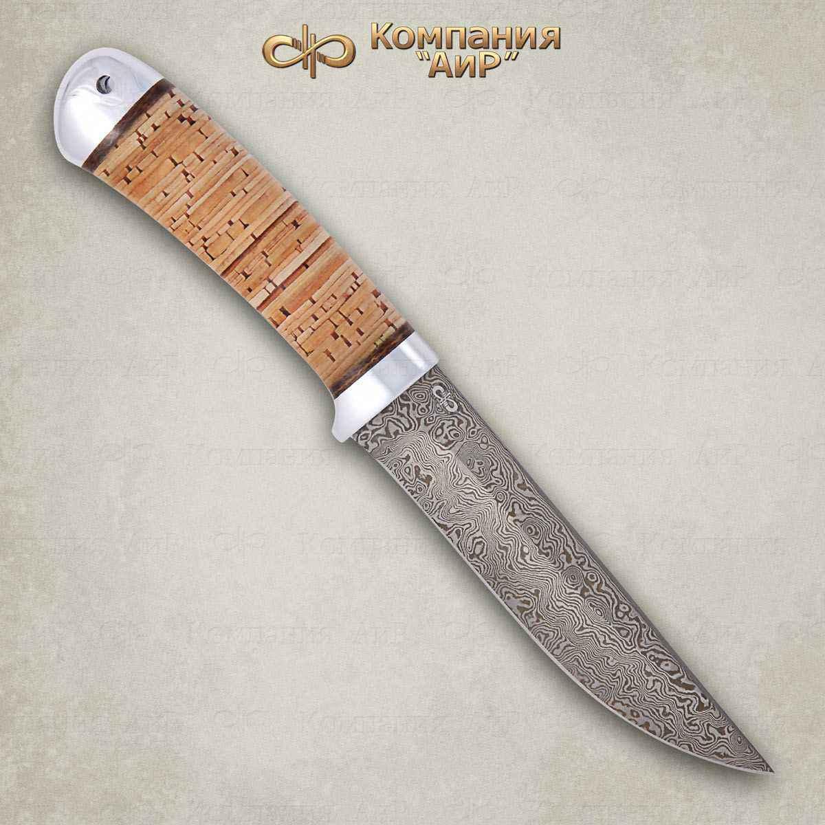 Нож Лиса, сталь ZDI 1016, рукоять береста, алюминий фото
