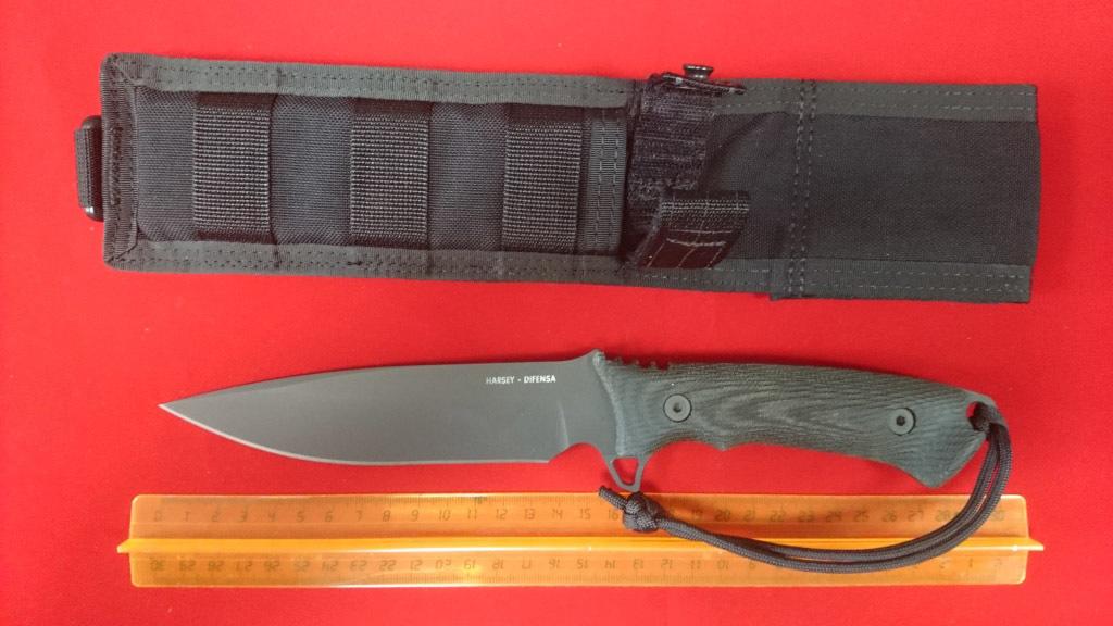 Нож с фиксированным клинком William Harsey Difensa (Black SpartaCoat/Black Micarta/Black Sheath) 15.9 см.