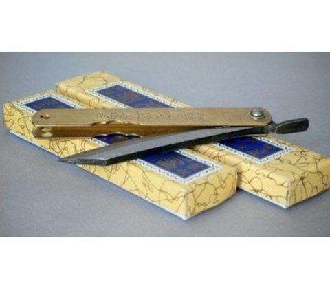 Нож складной Kanekoma Higonokami HKA-100Y, сталь Aogami, рукоять латунь. Вид 6