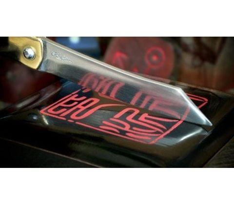 Нож складной Kanekoma Higonokami HKA-100Y, сталь Aogami, рукоять латунь. Вид 8