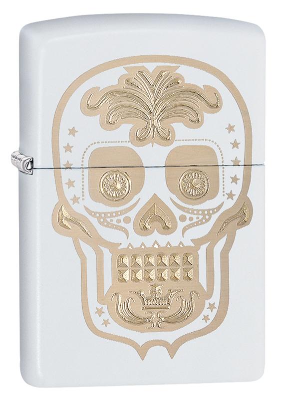 Зажигалка ZIPPO Classic Череп с покрытием White Matte