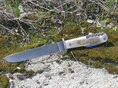 Многопредметный нож в ножнах Окопник (Егерский), дамаск, рог