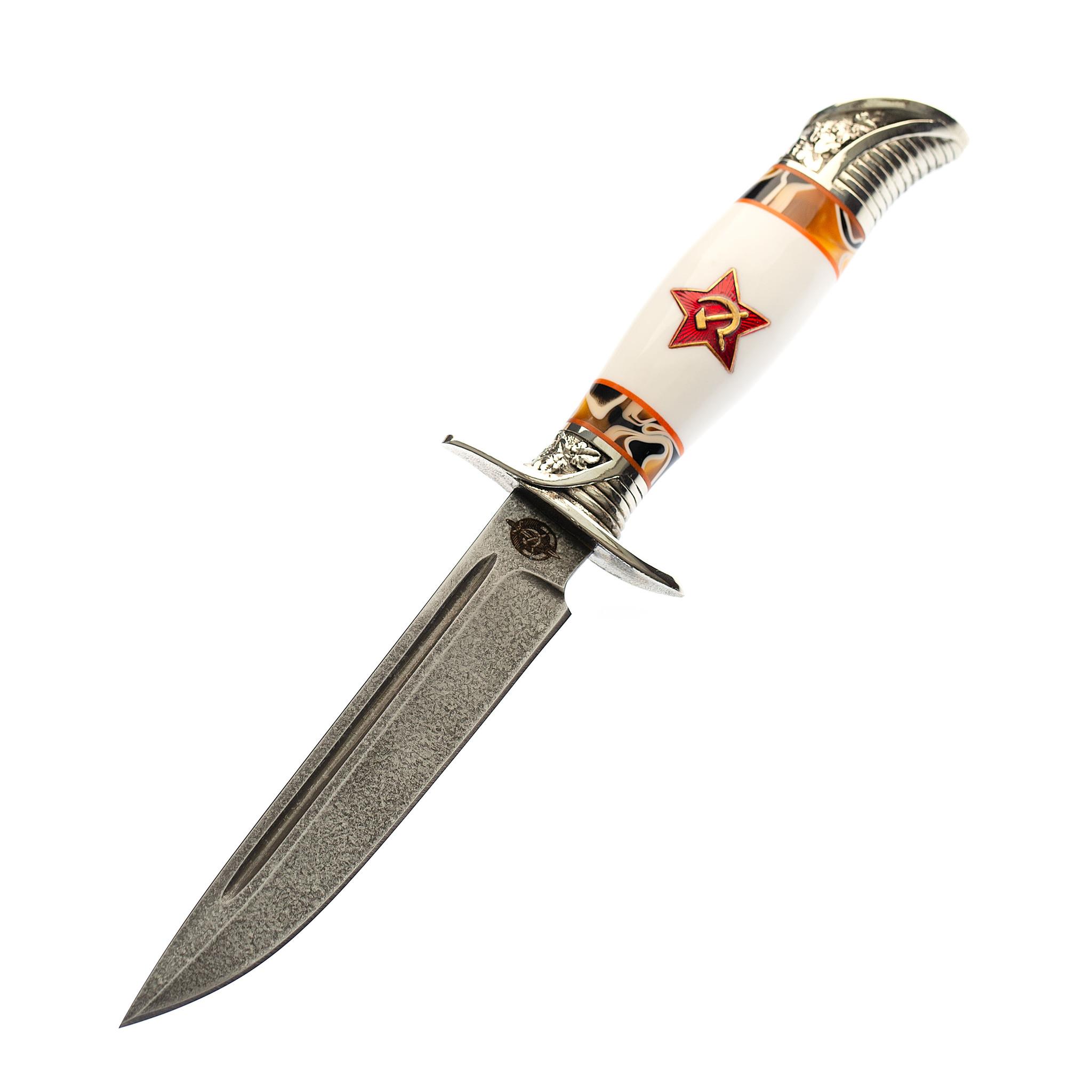 Нож Финка НКВД со звездой, сталь булат, белый акрил