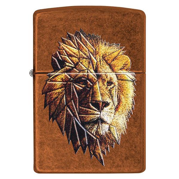 Зажигалка ZIPPO Polygonal Lion с покрытием Toffee™, латунь/сталь, медная, матовая, 36x12x56 мм