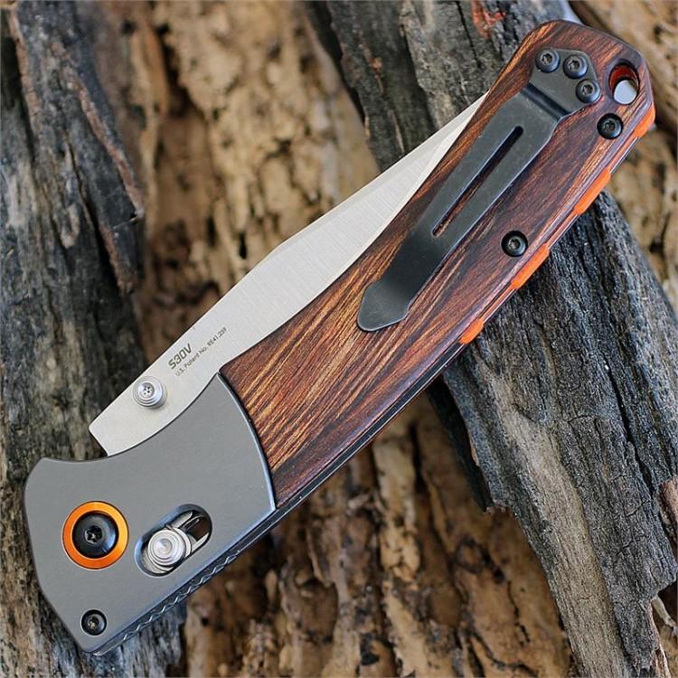 Фото 10 - Нож складной Benchmade Hunt Series Crooked River Wood 15080-2, сталь CPM-S30V, рукоять дерево