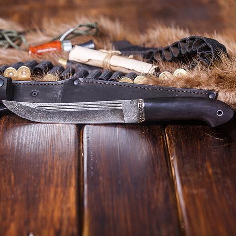 Нож Засапожный, сталь дамаск, рукоять граб, мельхиор. Вид 7