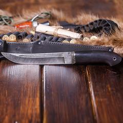 Нож Засапожный, сталь дамаск, рукоять граб, мельхиор, фото 7