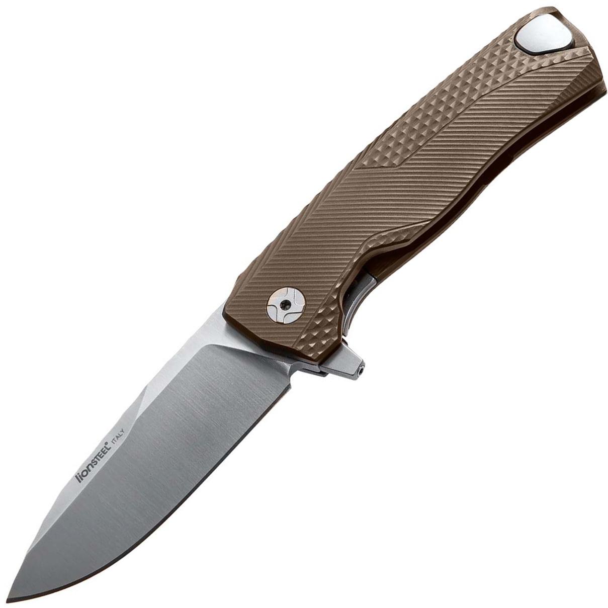 Фото - Нож складной LionSteel ROK B, сталь Bhler M390 Satin Finish, рукоять титан, бронзовый цвет от Lion Steel