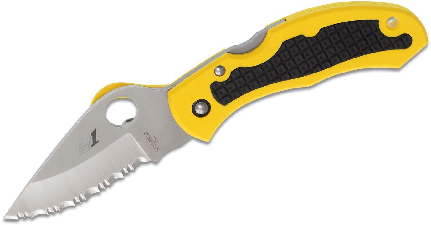 Фото 13 - Нож складной Snap-It™ Salt™ Spyderco C26SYL, сталь H1 Satin Serrated (SpyderEdge™), рукоять термопластик FRN, жёлтый