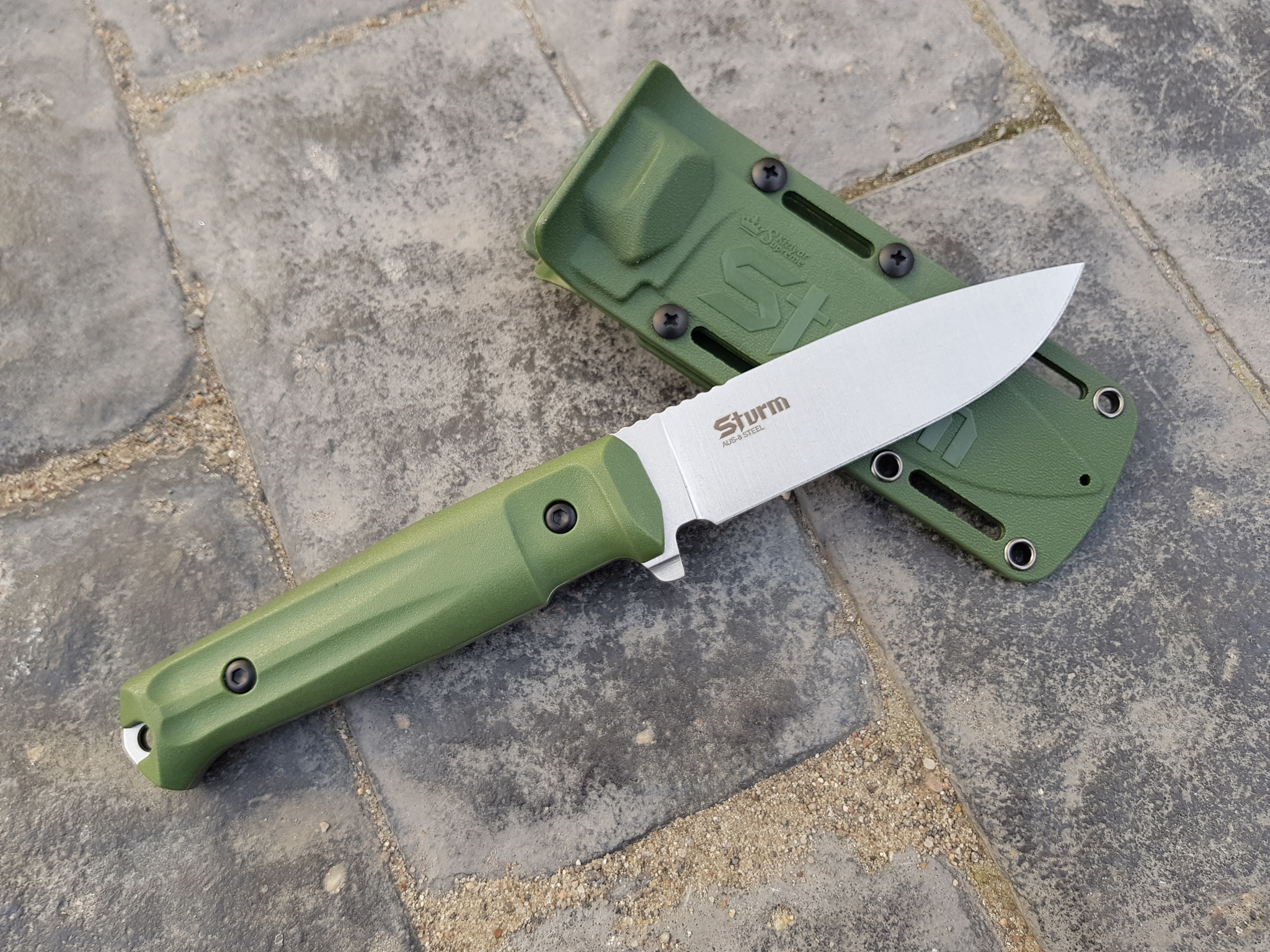 Фото 29 - Тактический нож Sturm AUS-8 S BS SW олива, Кизляр от Kizlyar Supreme