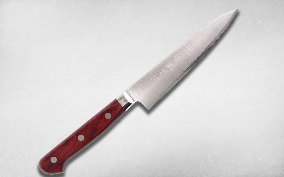 Нож кухонный универсальный 130 мм, Takamura, TM-11/SGR, сталь R2, паккавуд, коричневый
