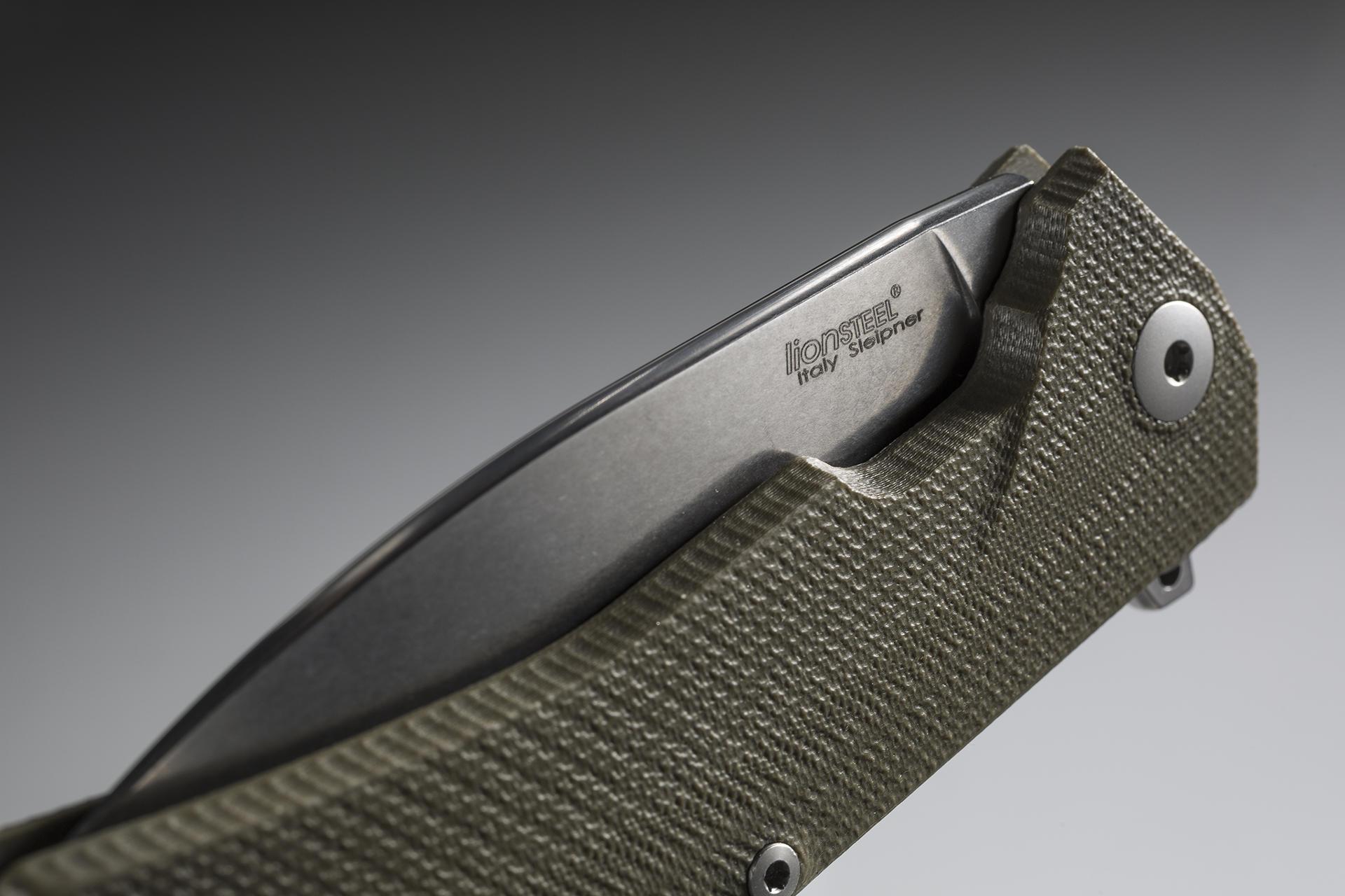 Фото 4 - Нож складной LionSteel KUR GR G10 Green Flipper, сталь Uddeholm Sleipner®, стеклотекстолит, зелёный от Lion Steel