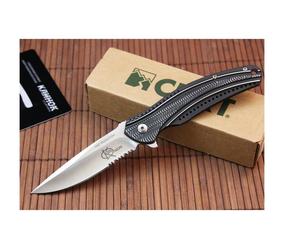 Фото 7 - Складной нож CRKT Ripple Charcoal Combo, сталь Acuto 440, рукоять нержавеющая сталь 420J2