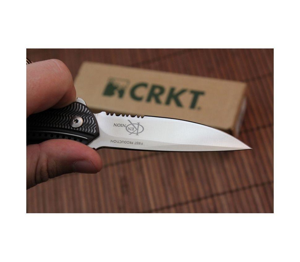 Фото 8 - Складной нож CRKT Ripple Charcoal Combo, сталь Acuto 440, рукоять нержавеющая сталь 420J2